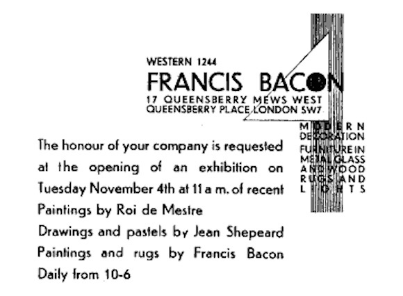 Invitation to 1929 selling exhibition, from Richard Shone's article on Bacon the furniture designer in The Burlington magazine, 1996