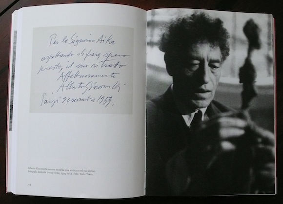Photograph of Alberto Giacometti by Yoshi Takata with note on reverse to Aïka Sapone, 1959
