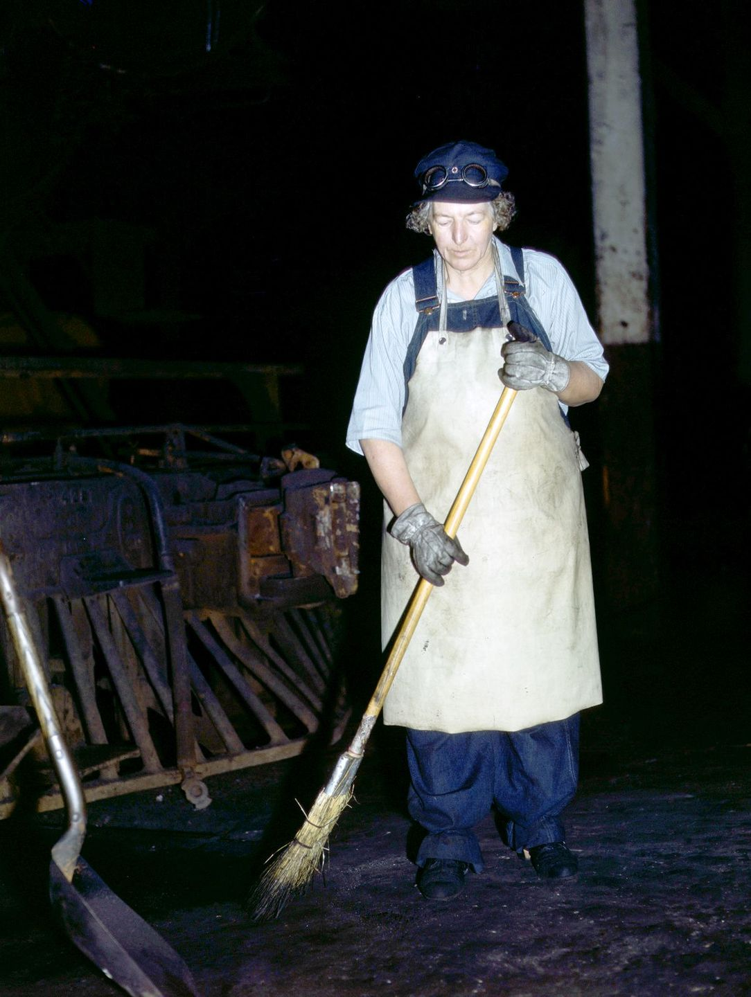 Mrs. Elibia Siematter, a sweeper at the roundhouse.