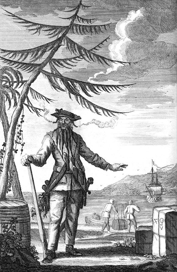 Engraving of Blackbeard showing from A General History Of Pyrates