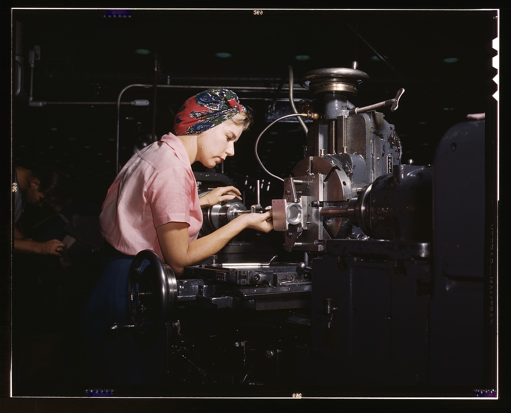 Women become skilled shop technicians after careful training in the school at the Douglas Aircraft Company plant, Long Beach, Calif.