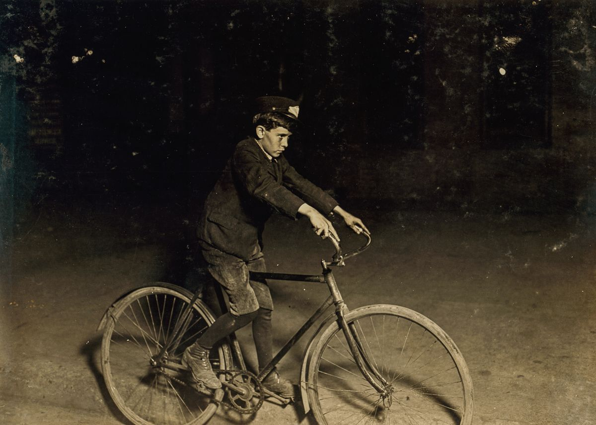 "August 1908 ""A.D.T. Messenger Boy, Indianapolis, 10 P.M."""
