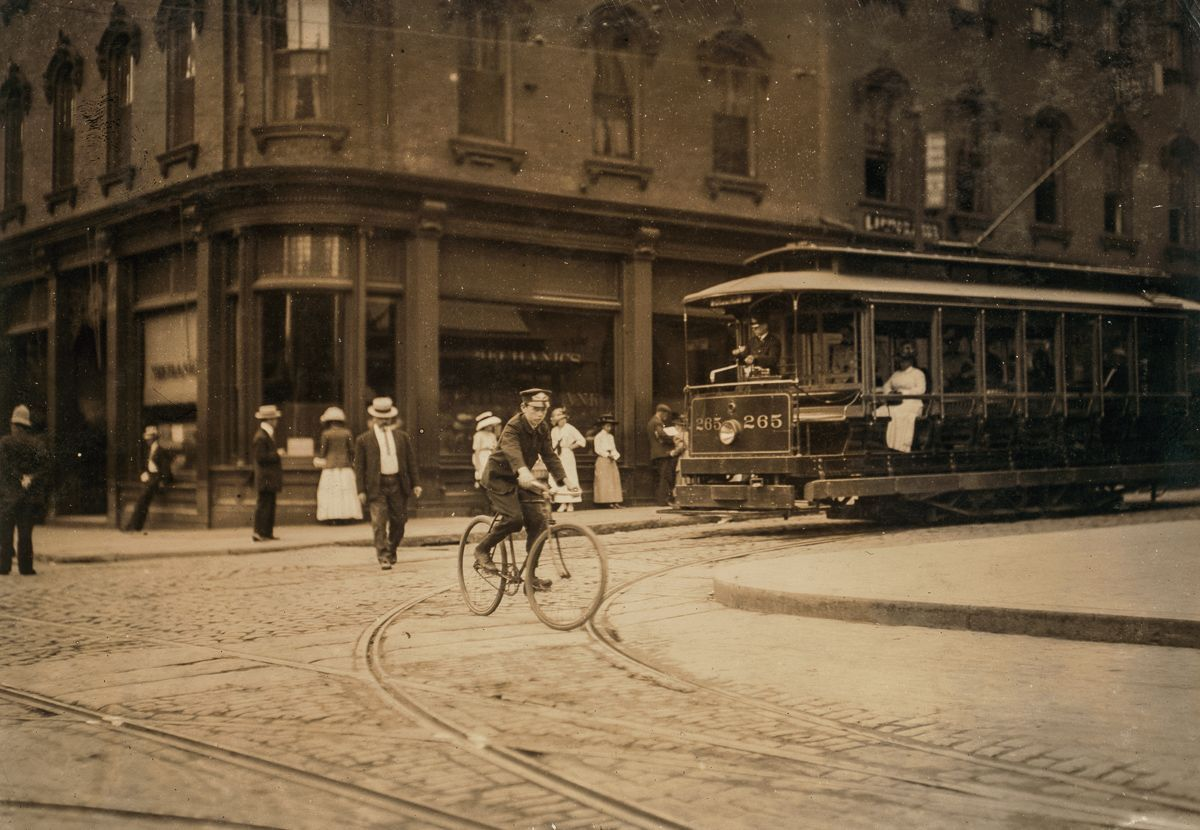 """August 1911 """"Young messenger in New Bedford, Massachusetts."""""""