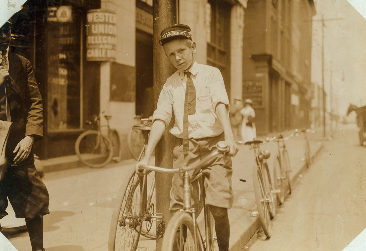 "June 1911 ""Hodges Gallop, Western Union Messenger No. 16, Norfolk, Va.... Been working here one month. He, and several other very young boys, work until 10:30 P.M."""