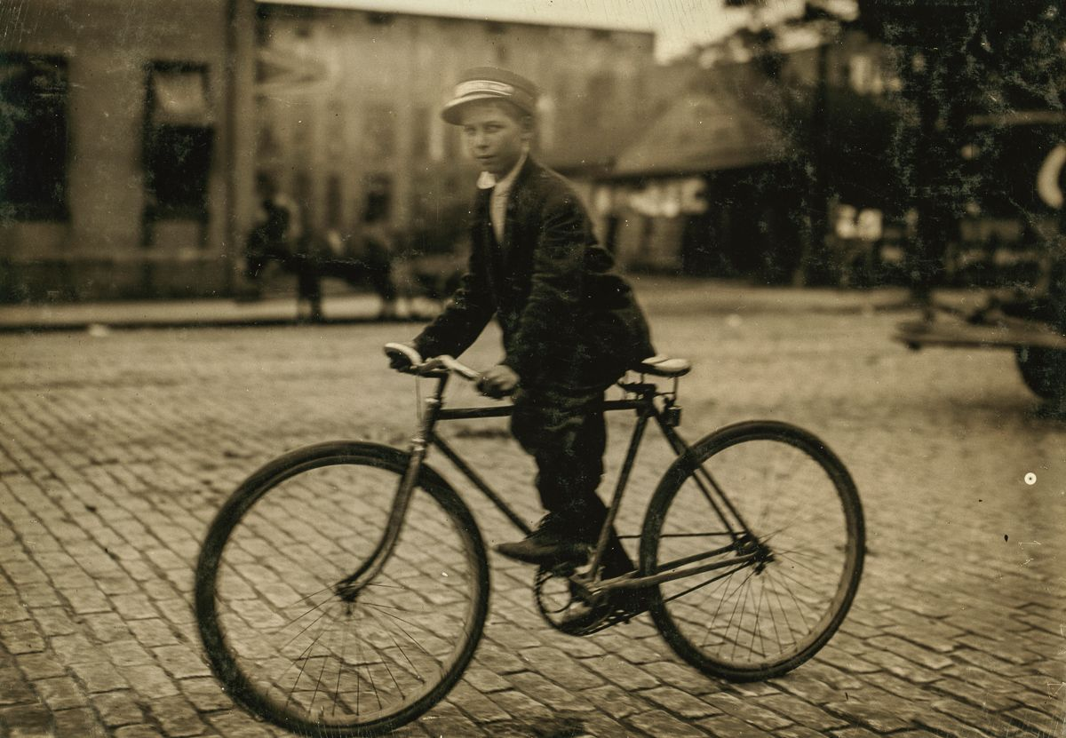 "October 1913 ""Postal messenger #6. Said he was 14, but he does not seem to be. Frail, tiny and stunted. Works until 11 P.M. Says he goes to the Red Light some, and gets 25 cents extra then. Location: Montgomery, Alabama."""