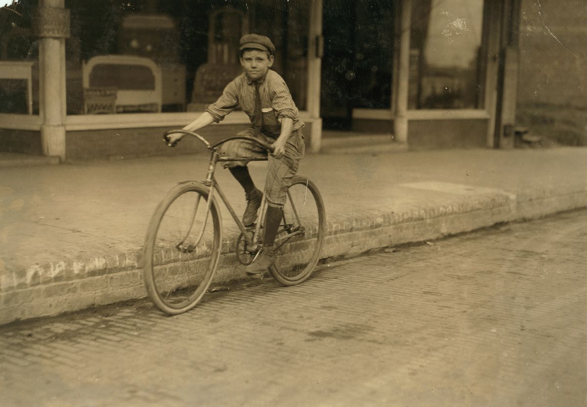 "November 1913 ""Percy Neville, eleven year old messenger boy. Messenger boy #6 for Mackay Telegraph Company. He has been messenger for different companies for four years."""
