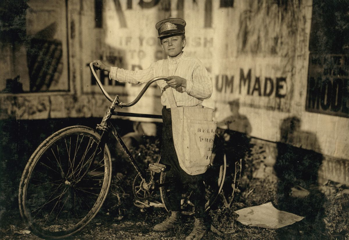"October 1913 ""Marion Davis, Messenger #21 for Bellevue Messenger Service. Fourteen years old. 'Been messenger, off and on, for two years. Not supposed to go to the Reservation under sixteen years, but I do just the same. The boss don't care and the cops don't stop me.' Location: Houston, Texas."""