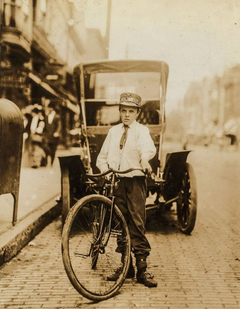"May 1910 ""Harvey Buchanan, Postal Telegraph Co. Messenger No. 1908. 14 years of age. 1 year in service. Works from 7 a.m. to 6 p.m. $4 weekly. Visits houses of prostitution. Smokes."""