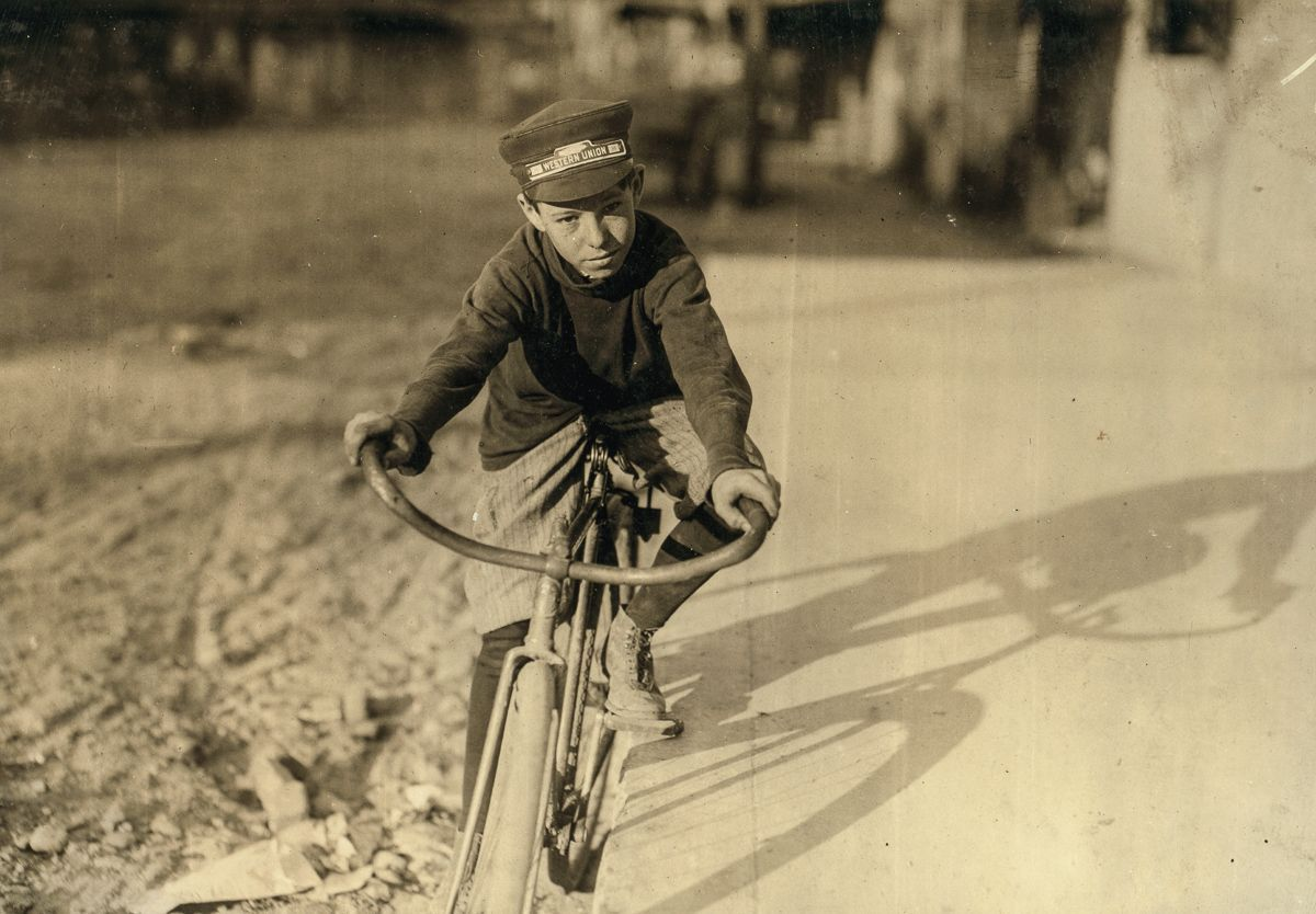 """October 1913 """"Curtin Hines. Western Union messenger #36. Fourteen years old. Goes to school. Works from four to eight P.M. Been with WU for six months, one month delivering for a drug store."""""""