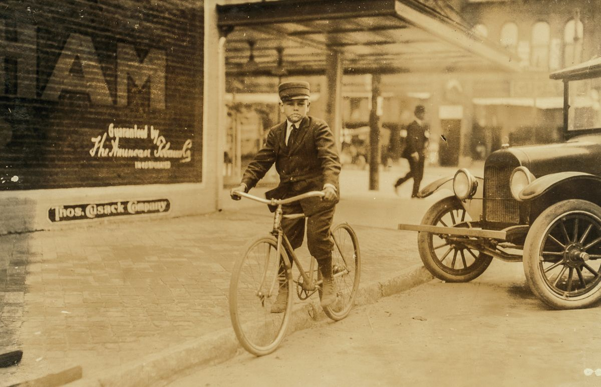 """March 15, 1917 """"Ben Collins. Been working steady for Mackay Telegraph Co. for 1 month. 13 years old. Says he makes $5 a week. Location: Oklahoma City."""""""