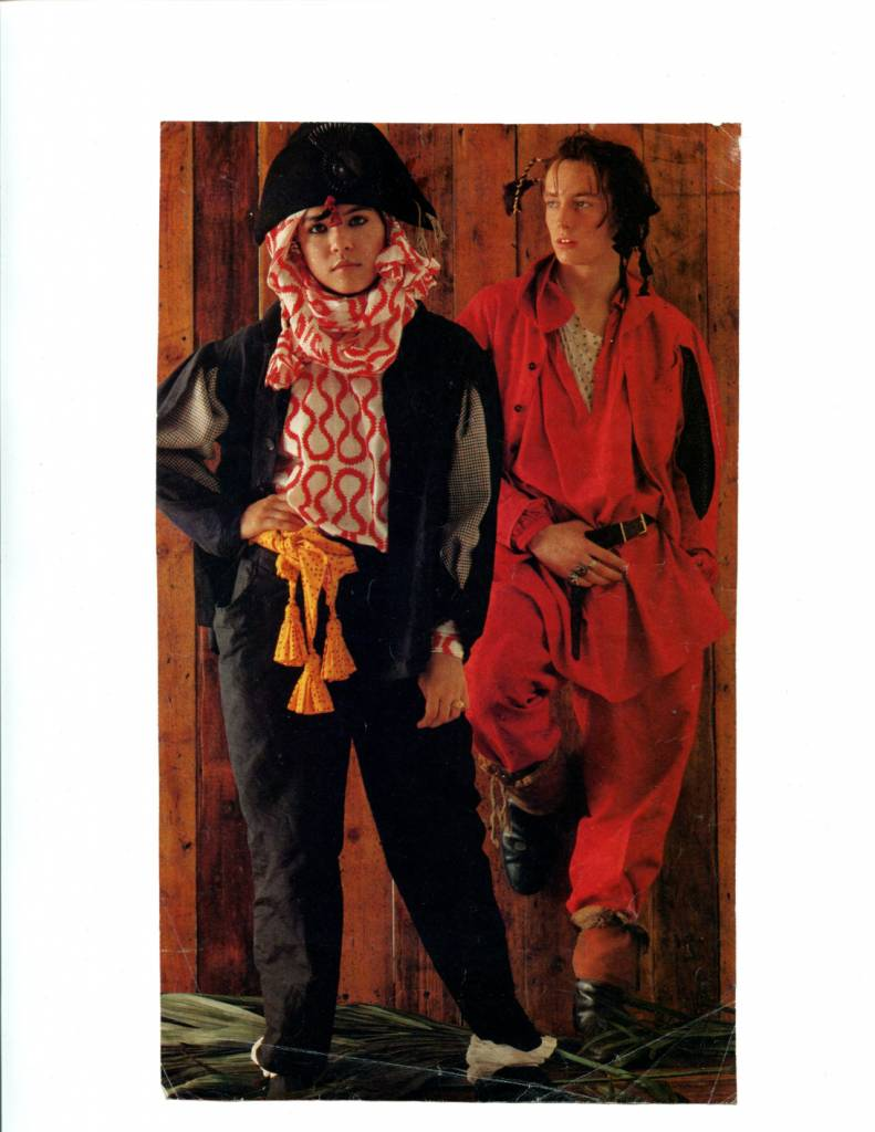 Annabella Lwin and Matthew Ashman from Bow Wow Wow in Worlds End Pirate clothing designed by Vivienne Westwood & Malcolm McLaren, circa 1981