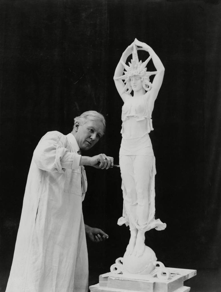 Editorial Use Only / No Merchandising Mandatory Credit: Photo by Everett/REX/Shutterstock (1409964a) Alexander Calder (1870-1945), working on an allegorical sculpture for the Panama-Pacific International Exposition in San Francisco, California. 1914. Alexander Calder (1870-1945), working on an allegorical sculpture for the Panama-Pacific International Exposition in San Francisco, California. 1914.