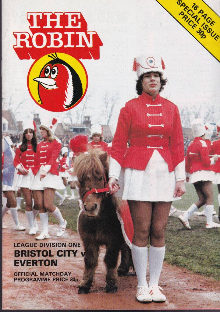 Bristol City vs Everton - 1980 - Cover Page A cheeky wee pony and some Majorettes welcome Everton to Bristol City in 1980