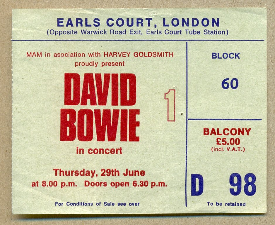 David Bowie played three concerts at Earls Court in 1978, on the 29 & 30 June, and on 01 July. These were the only London concerts he played in 1978 and I went to the first two shows at Earls Court, on 29 & 30 June.