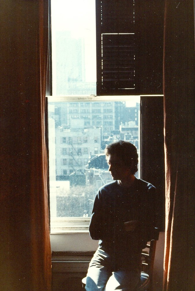 A photograph of my friend Paul in Room 818 at the Chelsea Hotel, New York City, November 1983.   Hotel Chelsea 222 W 23rd St New York NY 10011