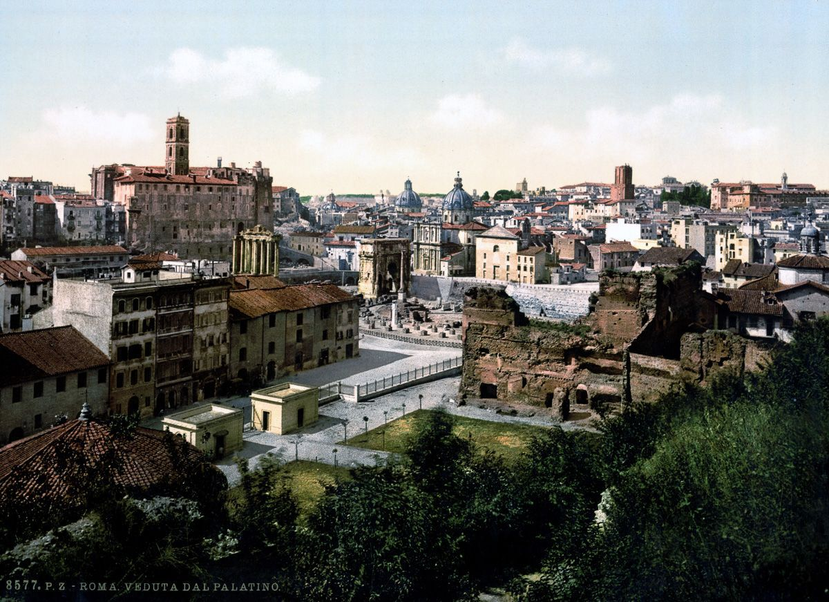 A view from the Palatine Rome autochrome
