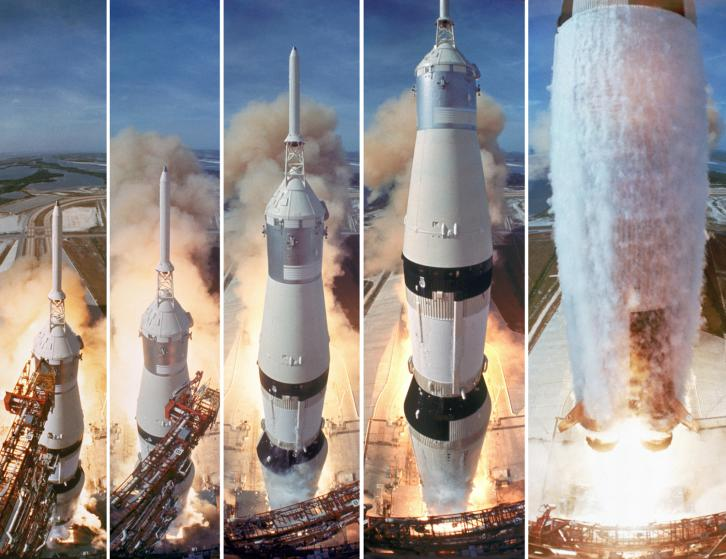 COMPOSITE PIC: 5 frame shot of the gantry retracting while the Saturn V boosters lift off to carry the Apollo 11 astronauts to the Moon.
