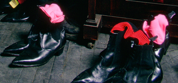 Boots on display in Let It Rock, January 1972. Photo- David Parkinson
