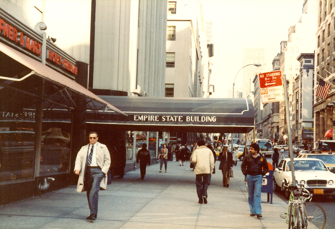 Entrance to the Empire State Building, New York City, November 1983.   Empire State Building 350 5th Ave New York NY 10001