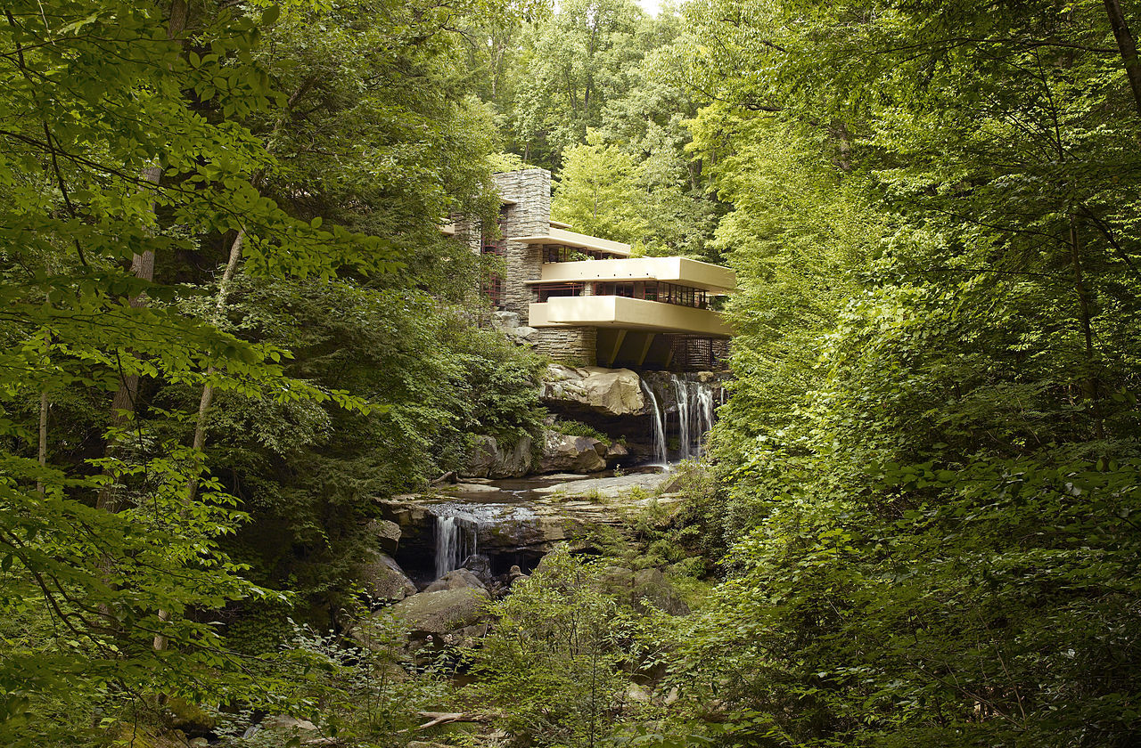 Frank lloyd wright s fallingwater gets animated for House built on waterfall
