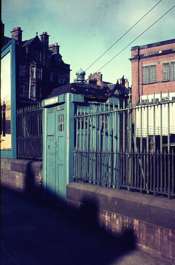 Police box in Glasgow, 1976