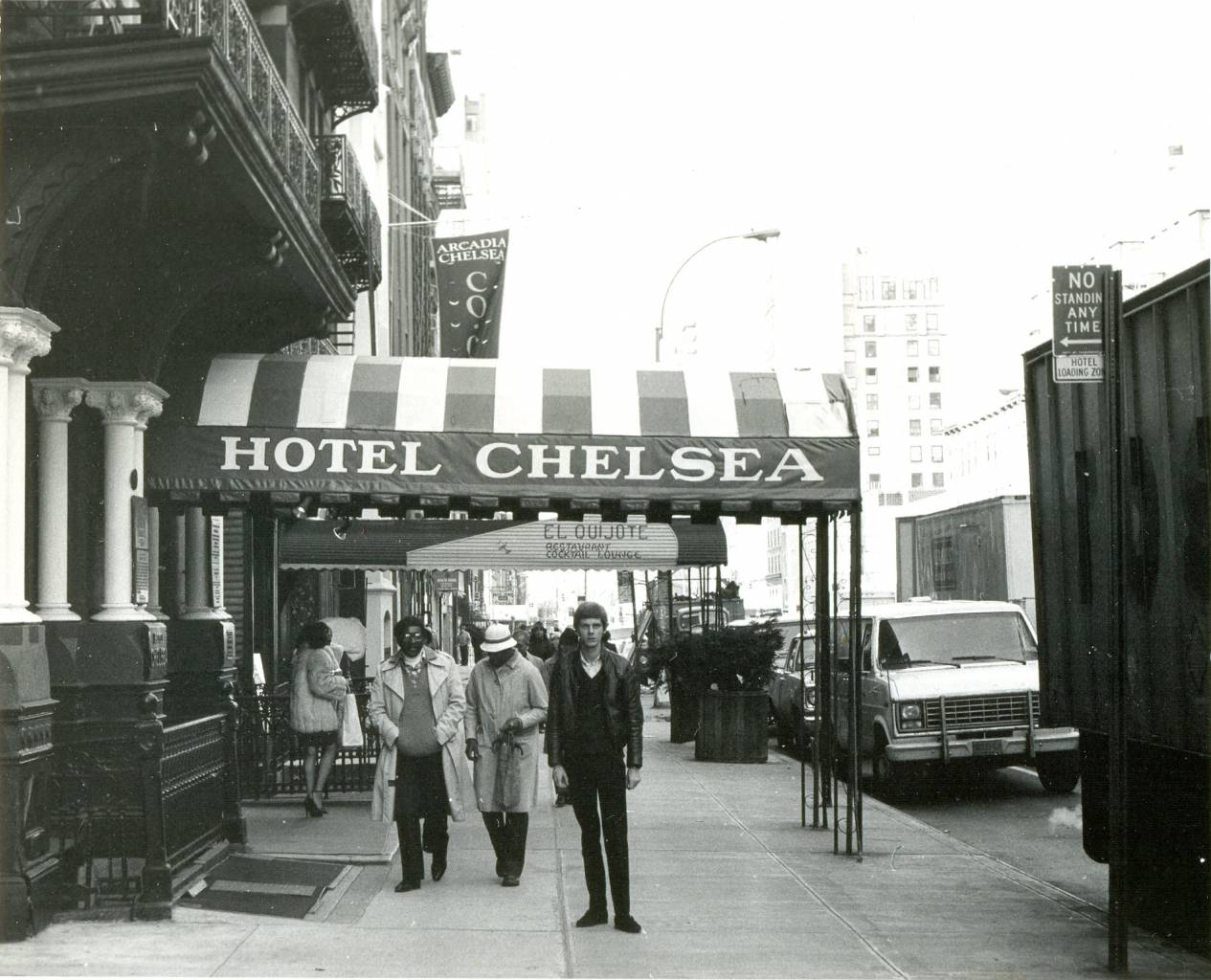 A photograph of me outside one of my favourite places, the Chelsea Hotel on West 23rd Street.   New York City, November 1983.   Hotel Chelsea 222 W 23rd St New York NY 10011