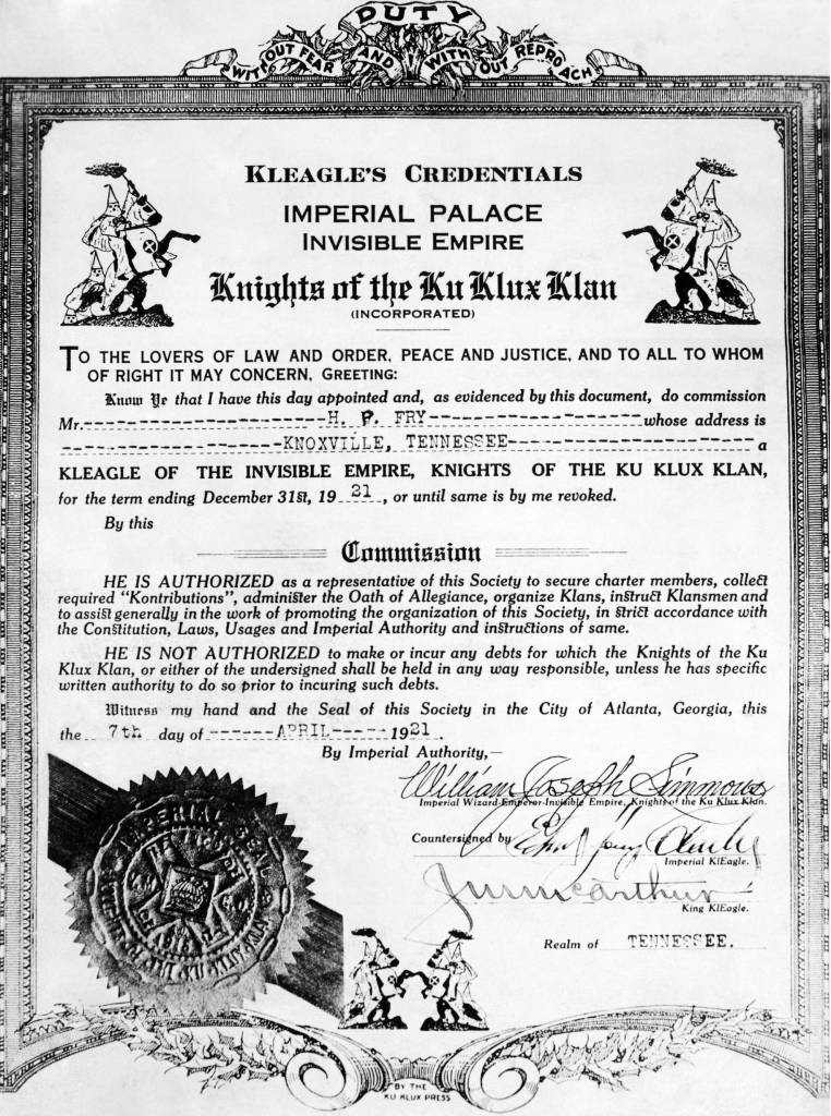 A certificate of membership and position within the KKK, in Illinois, April 20, 1921. (1190) A certificate of membership and position within the KKK, in Illinois, April 20, 1921. (CSU_ALPHA_1190) CSU Archives/Everett Collection
