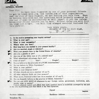 Questionnaire Sent To Prospective Members of the Ku Klux Klan (1921)