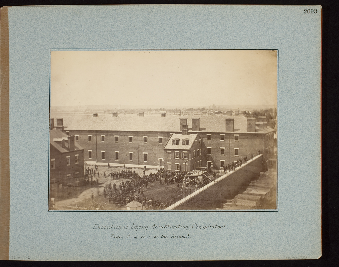 Execution of Lincoln Assassination Conspirators. Taken from roof of the Arsenal.