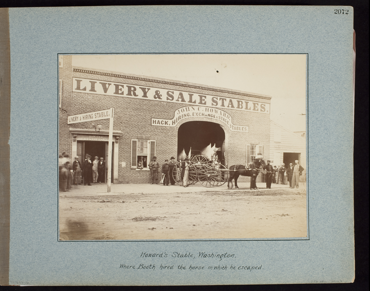 Howard's Stable, Washington, Where Booth hired the horse on which he escaped.