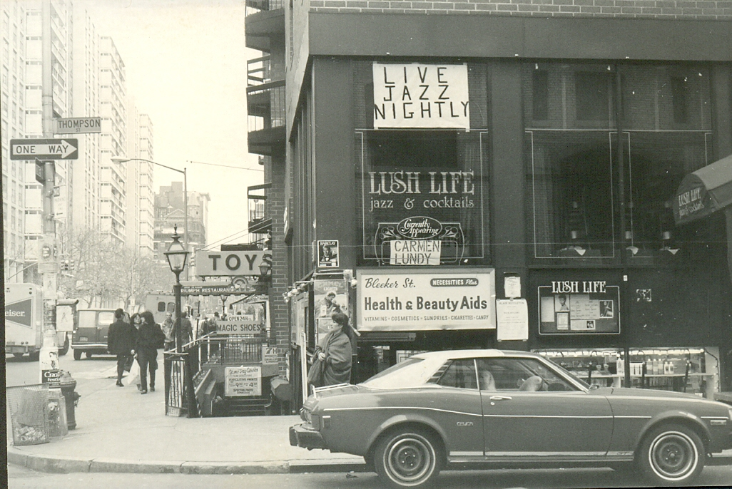 Lush Life was a restaurant and jazz club on Thompson Street at Bleecker Street, in Greenwich Village.   I took this photograph in November 1983.   Lush Life 184 Thompson Street New York NY 10012