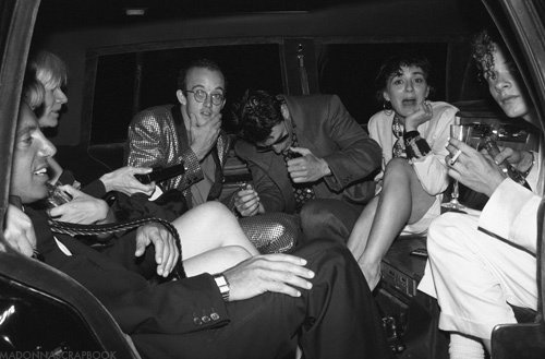 And here's this gem of Studio 54's Steve Rubell, Andy Warhol, Keith Haring, Tom Cruise, Maripol and Martin Burgoyne in limo for Madonna's wedding to Sean Penn in Malibu 1985.