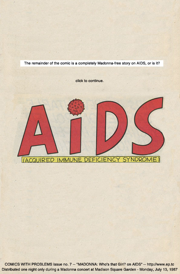 madonna AIDS New York 1987 comic programme
