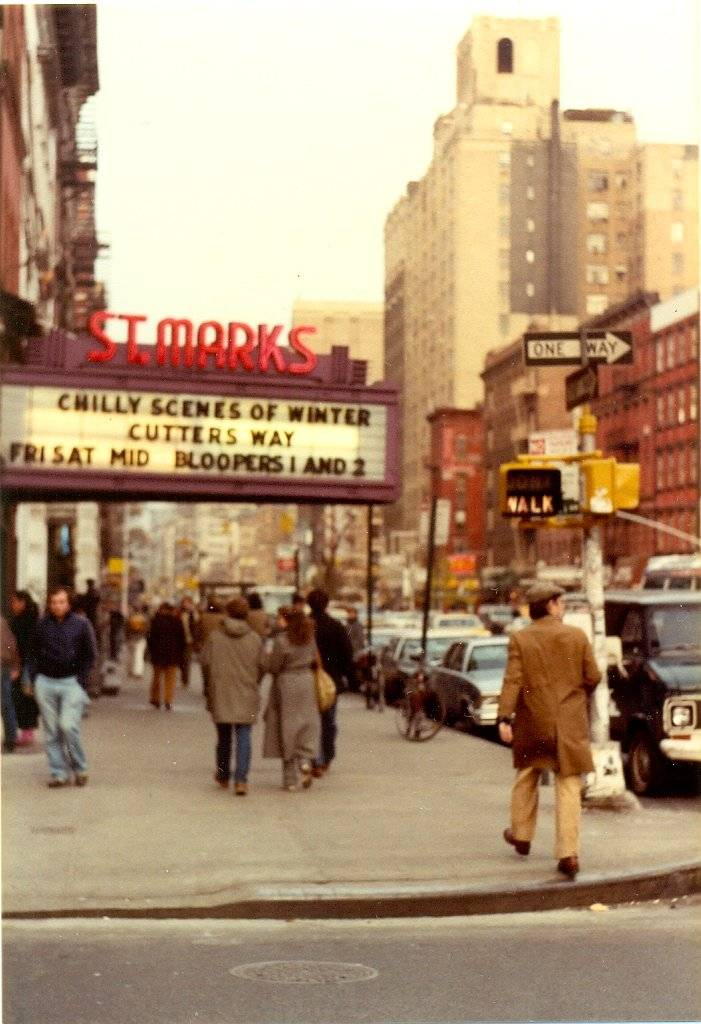 "This is St. Marks Cinema in Manhattan's East Village, on the corner of St. Marks Place and Second Avenue. In the 1980's the cinema showed films at discount prices and would run double bills and midnight screenings.   When I took this photograph the 1979 romantic comedy ""Chilly Scenes of Winter"" and the 1981 thriller ""Cutter's Way"" were showing, as well a midnight screening of ""Bloopers"".   St. Marks Cinema is now Cohen's Fashion Optical with the Theatre Condos above.   St. Marks Cinema 133 Second Avenue (near St. Mark's Place) New York NY 10003"