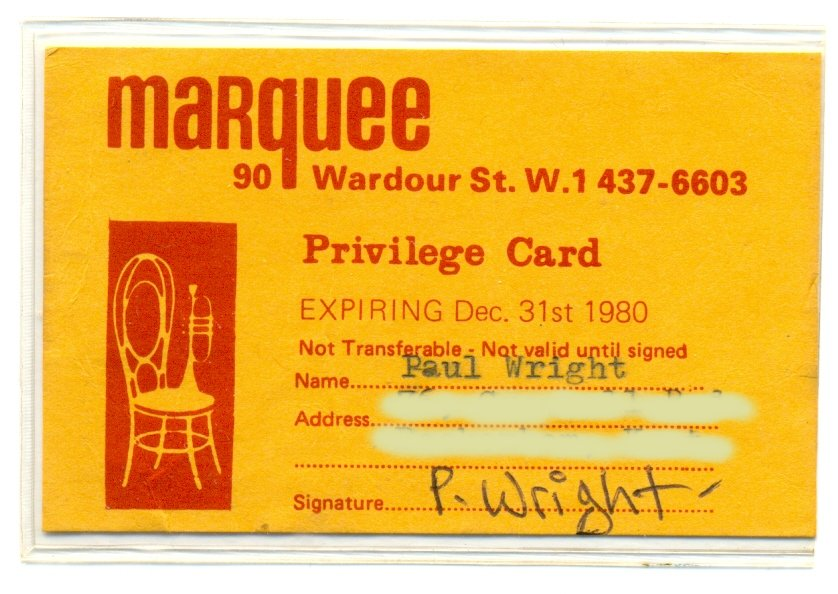 Marquee membership Card Paul Wright 1980