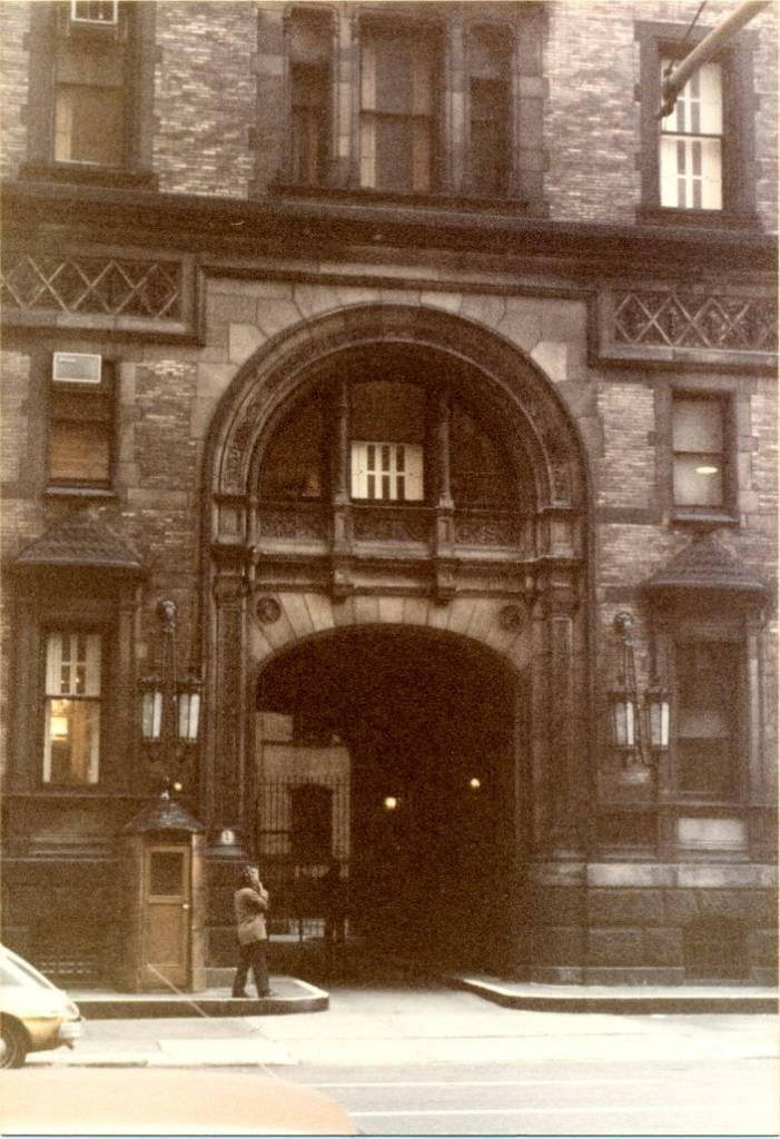 The Dakota, New York City (1982)  © photo by Paul Wright   The Dakota apartment building in the Upper West Side of Manhattan in New York City.   The building was the home of former Beatle John Lennon from 1973 up until when he was fatally shot on December 8, 1980. I took this photograph of the Dakota entrance two years after John Lennon was murdered there.   The Dakota 1 West 72nd Street New York NY 10023