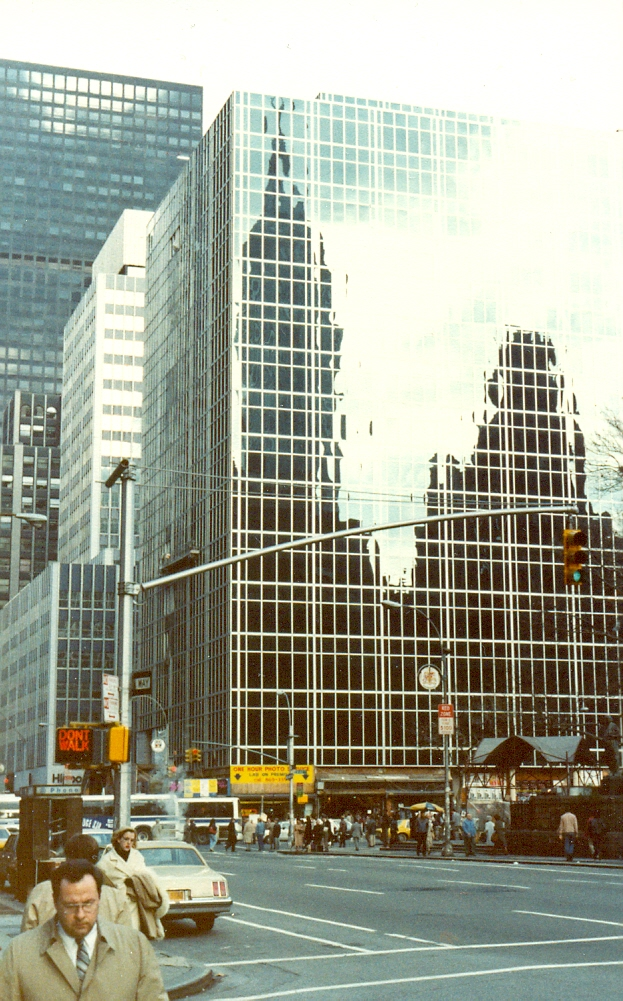 Reflected buildings, New York City, November 1983.