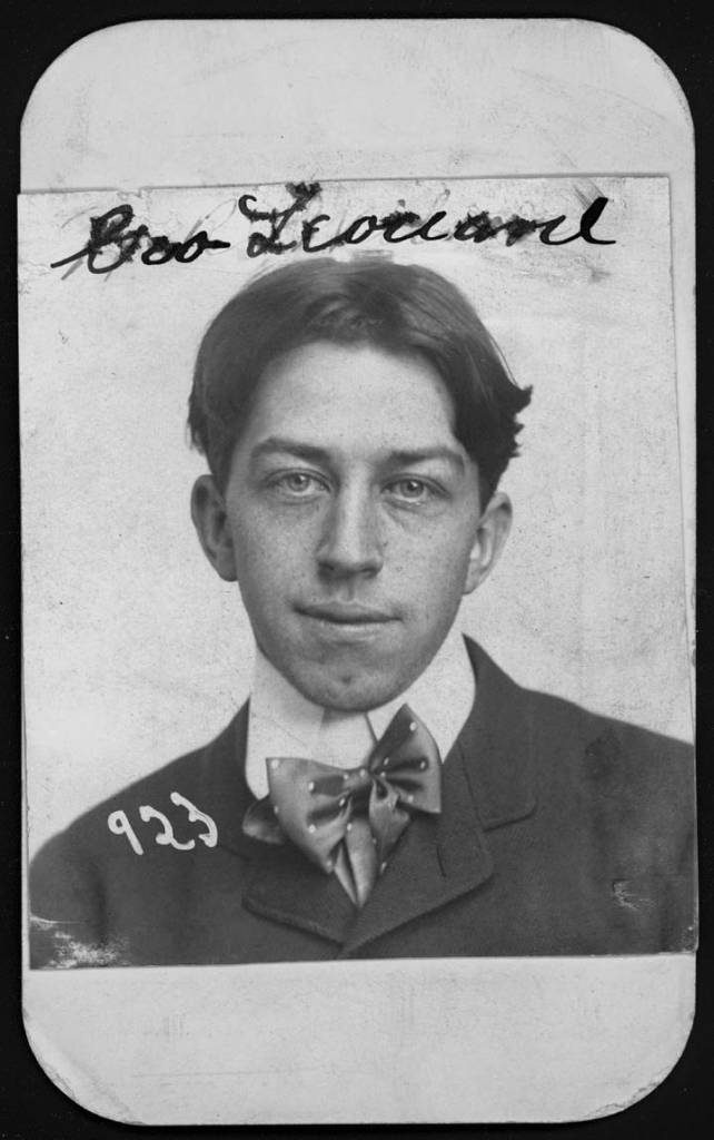 December 1901 George Leonard, an Omaha bookkeeper, was arrested for burglary on Dec. 23, 1901. His large silk bowtie sits slightly askew against his stiffly collared shirt.