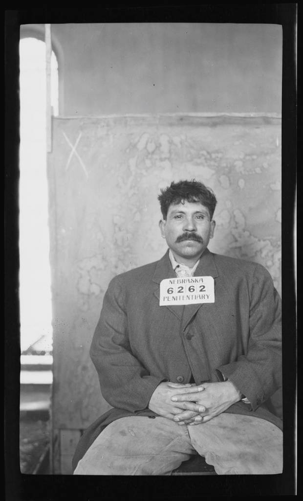 "February 1914 Alberto Interciago was sentenced to one to 20 years at the Nebraska State Prison for ""assault to wound"" in February 1914. In the first photograph, Interciago sports a thick mustache popularized by rebel leaders Emiliano Zapata and Pancho Villa during the Mexican Revolution, 1910-1920. The second set of mug shots show Interciago after his hair and mustache were shaved."