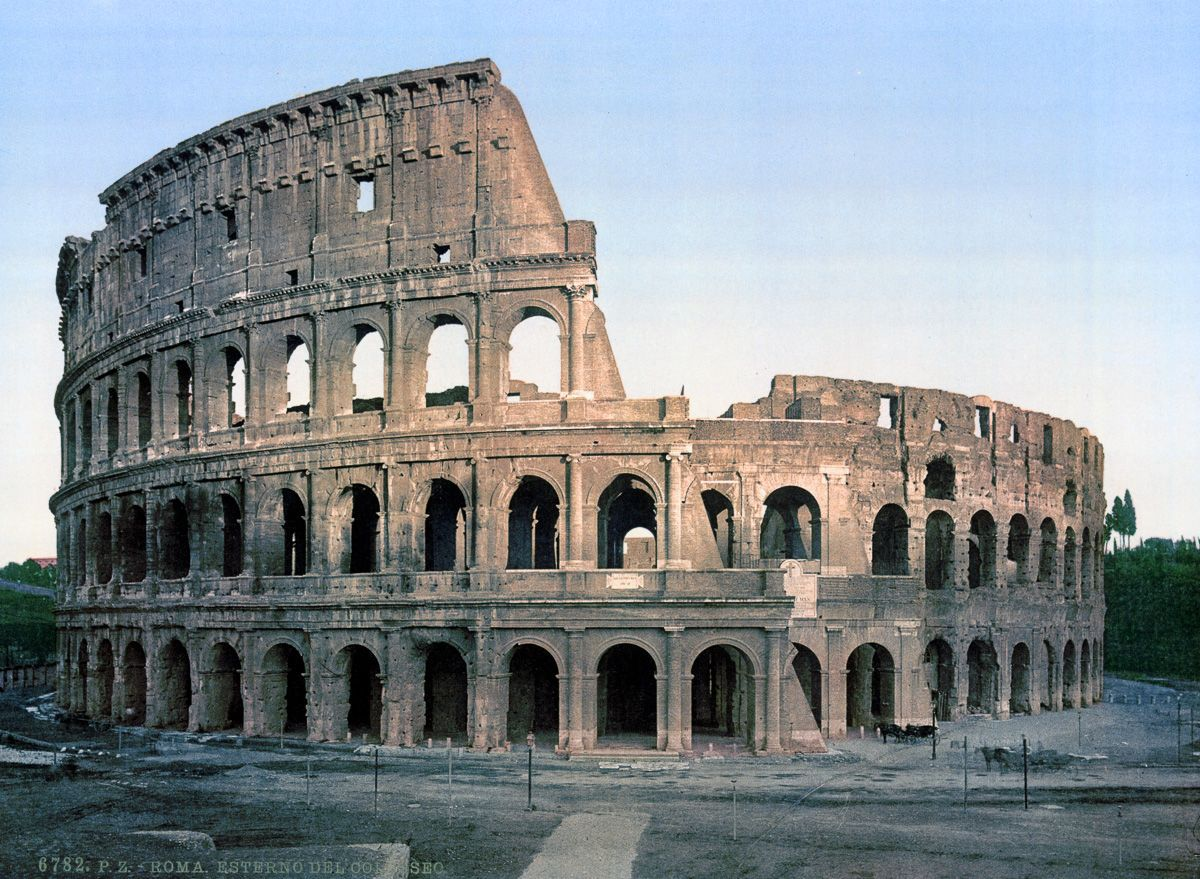 Outside the Coliseum autochrome