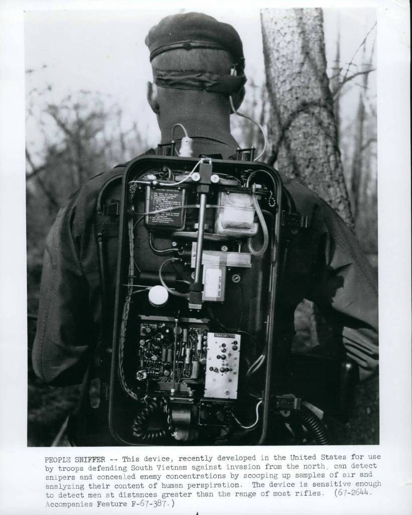 Mandatory Credit: Photo by Keystone Pictures USA/REX/Shutterstock (5621921vf) 1967 - People Sniffer: This device recently developed in the United States for use by troops defending South Vietnam against invasion from the north can detect snipers and concealed enemy concentrations by scooping up samples of air and analyzing their content of human perspiration.The device is sensitive enough to detect men at distances greater than the range of most rifles. Various