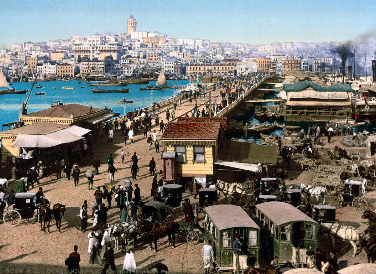 Photochroms of Istanbul Gala Bridge