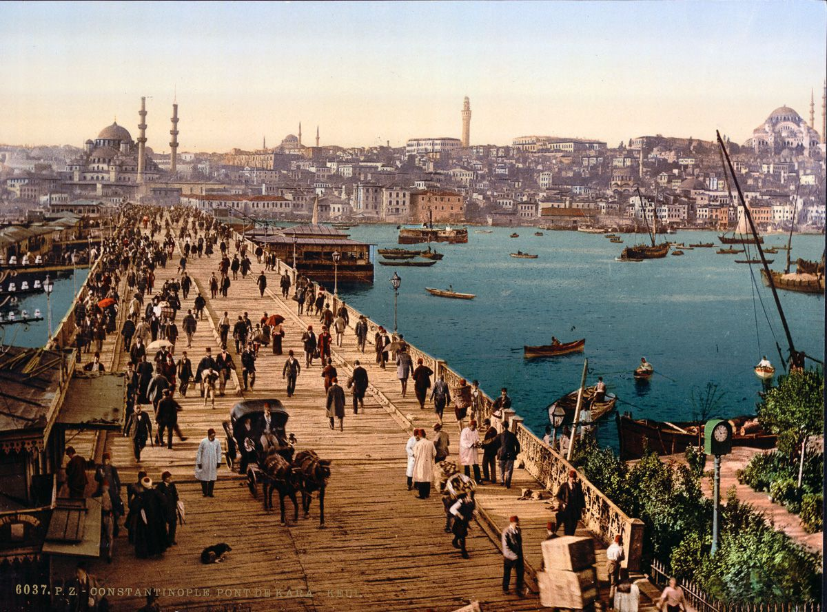 Photochroms of Istanbul Galata Bridge