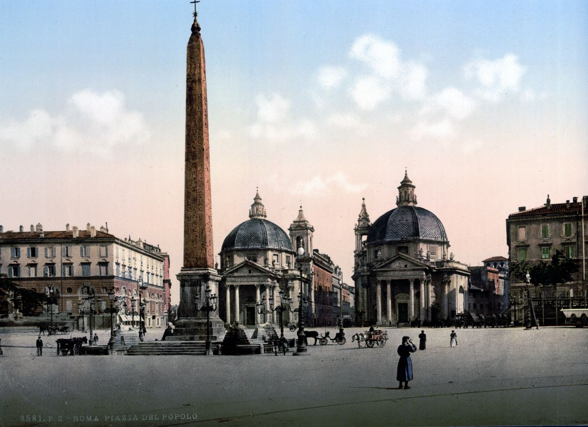 The Piazza del Popolo Rome autochrome