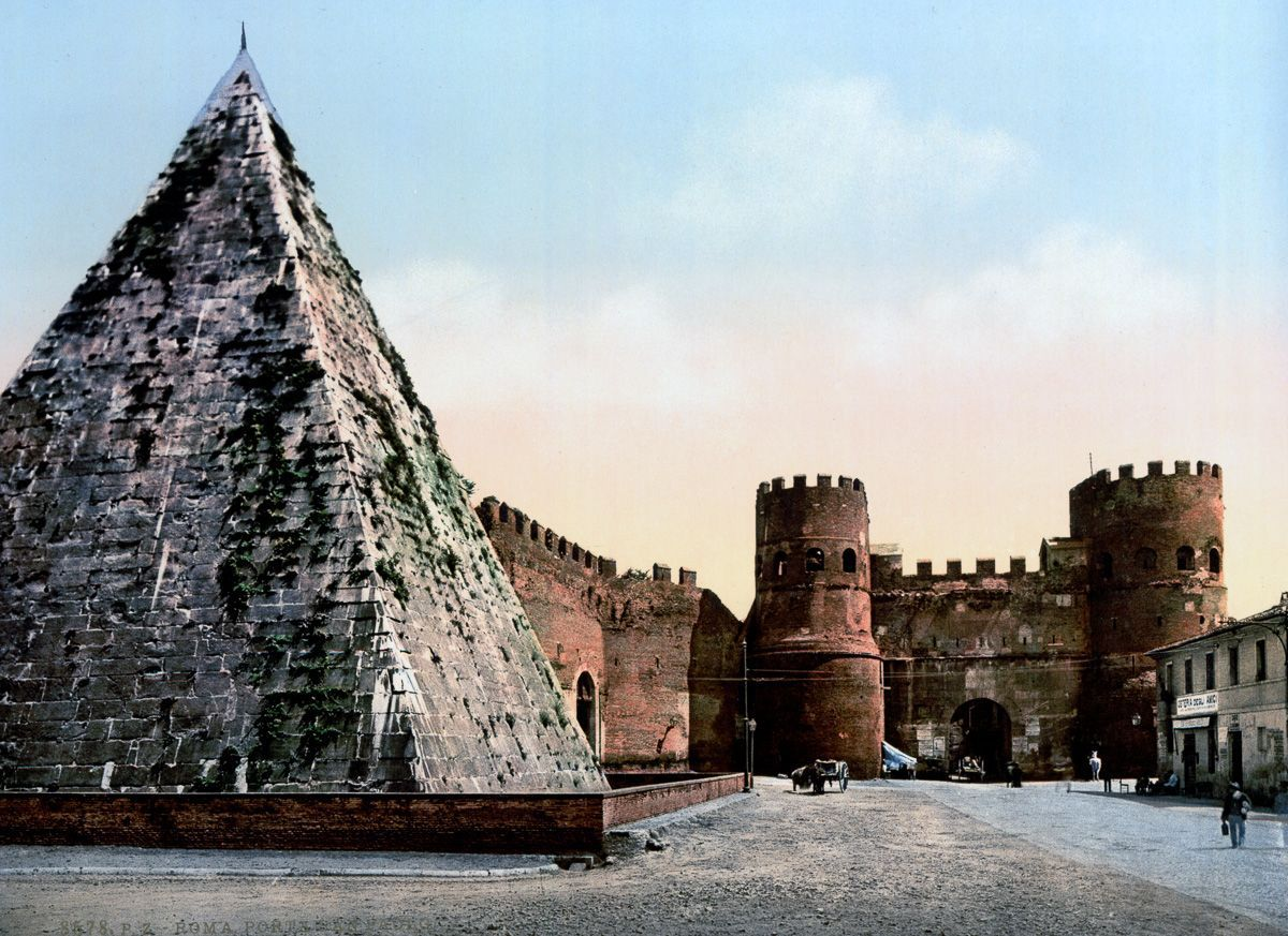 The Pyramid of Cestius at St. Paul's Gate Rome autochrome