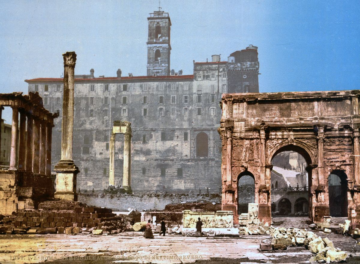 The Temple of Saturn and Triumphal Arch of Septimus Severus. Rome autochrome
