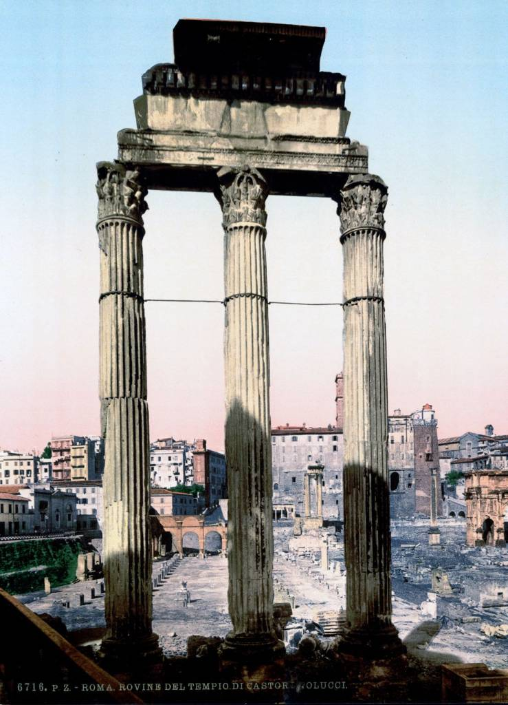 The ruins of the Temple of Castor and Pollux Rome autochrome