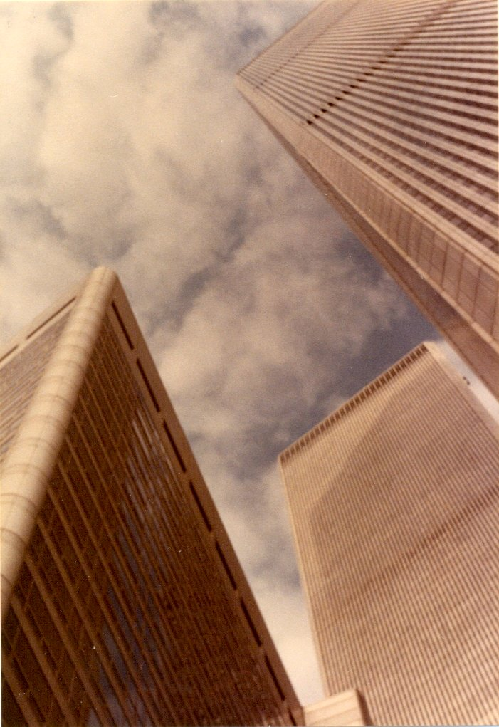 I took this photograph from the street, looking up at the Twin Towers of the World Trade Center.   New York City, November 1982.