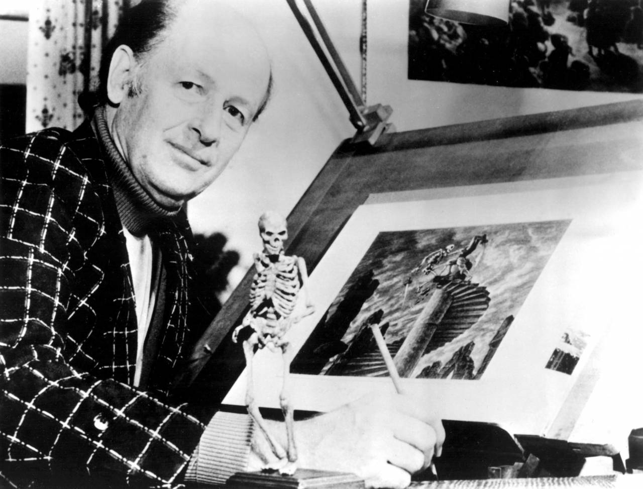 No Merchandising. Editorial Use Only. No Book Cover Usage Mandatory Credit: Photo by Everett/REX/Shutterstock (447344b) Ray Harryhausen with skeleton model and drawings for 'The Seventh Voyage of Sinbad' - 1970s VARIOUS RAY HARRYHAUSEN