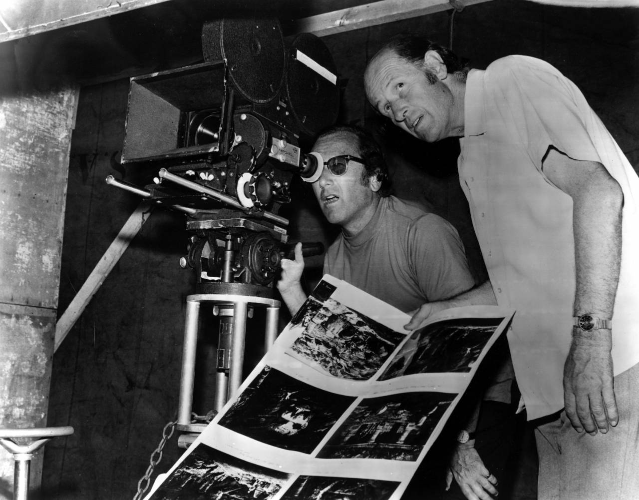 No Merchandising. Editorial Use Only. No Book Cover Usage Mandatory Credit: Photo by Everett/REX/Shutterstock (1163028b) Producers Charles H. Schneer and Ray Harryhausen on the Set of Golden Voyage of Sinbad. Harryhausen Holds His Special Effects Drawings Ray Harryhausen